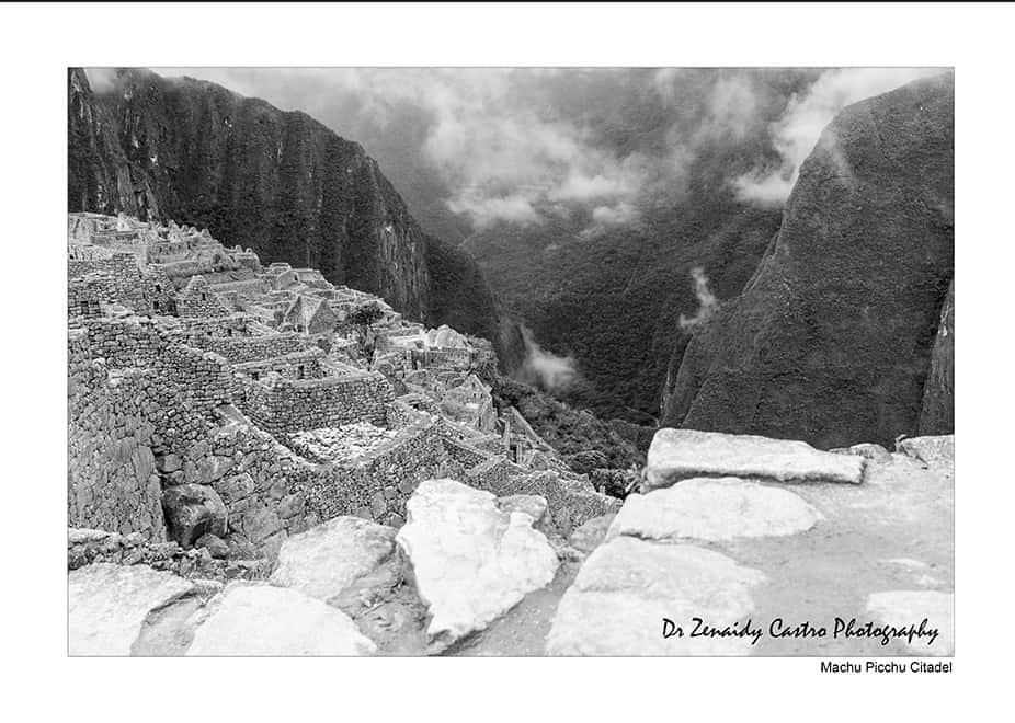 Machu Picchu Citadel Black and White Photography DR ZENAIDY CASTRO 4